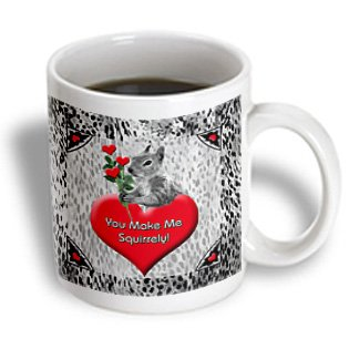Doreen Erhardt Love And Romance - You Make Me Squirrely Sweet Squirrel With Heart Stemmed Roses - 11Oz Mug (Mug_101825_1)