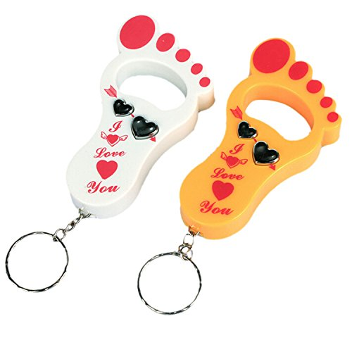 Cute Foot Shape Safety Electric Shock Funny Prank Toy Bottle Opener Led Keychain Color Random Quantity One