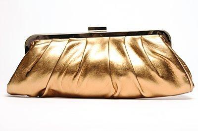 Bronze clutch handbag