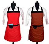 Switchon Waterproof Red and Chocolate Brown Apron Combo