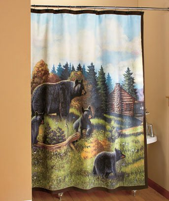 Black Bear Bath Shower Curtain
