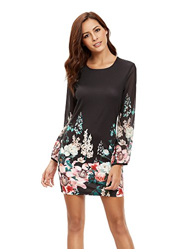 Floerns Women's Casual Long Sleeve Flower Chiffon Dress Black XL