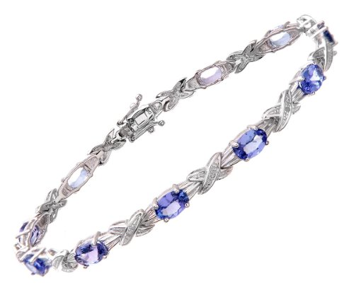 0.05 Carat I Diamond with Tanzanite 4 Claw Setting Link Bracelet in 9ct White Gold
