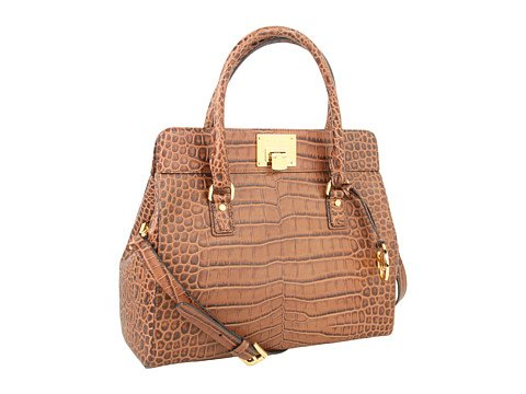 Michael Michael Kors Astrid Large Crocodile-embossed Satchel Dark Walnut