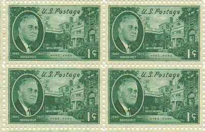 Roosevelt - Hyde Park Set of 4 x 1 Cent US Postage Stamps NEW Scot 930