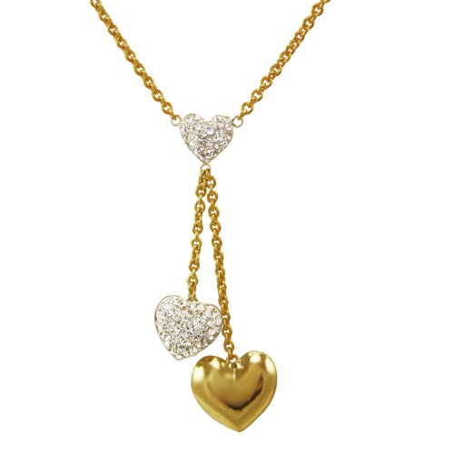 Bonded Sterling Silver and 10k Yellow Gold Crystal Heart Lariat Necklace, 18