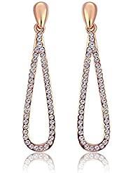 Wearyourfashion Austrian Zirconia Crystal 18K Rose Gold Plated Slim Dangle Earrings For Women
