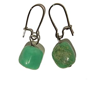 Chrysoprase Earrings 02 Dangle Nugget Gemstone Crystal Healing Gunmetal 1.4