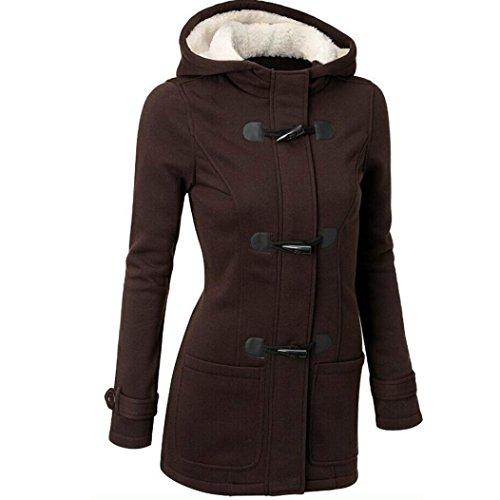 donne outwear, FEITONG giacca a vento trincea sottile lungo di lana calda giacca (XXXXL, Caffè)