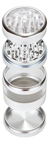 Zip-Grinders-Large-Spice-Herb-Grinder-Four-Piece-with-Pollen-Catcher-325-Inches-Tall-Premium-Grade-Aluminum-25-Silver