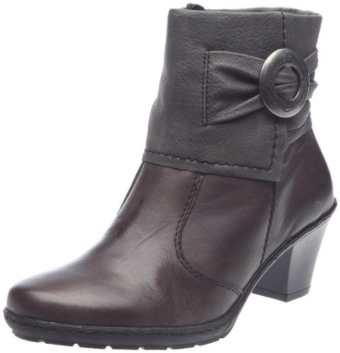 RIEKER LADIES ANKLE BOOTS 77152-47 GREY COMBI MID HEEL (39)