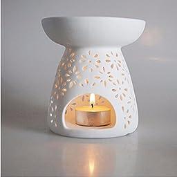 White Ceramic Aromatherapy oil Burner Candle Fragrance Lamp Holder Furnace Incense Censer Home Decor lights