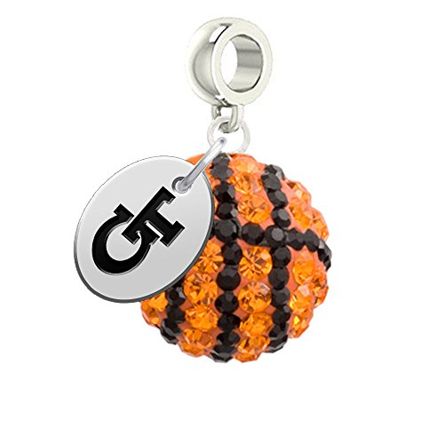 Georgia Tech Yellow Jackets Basketball Drop Charm Fits All European Style Bracelets