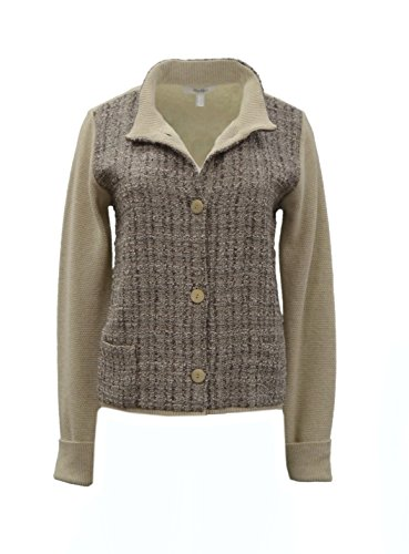 maxmara-womens-woven-tweed-knit-combo-sweater-jacket-sz-l-taupe-brown-80721mm