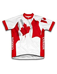 Canada Flag Short Sleeve Cycling Jersey for Women