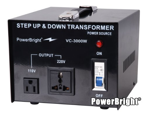 Power Bright VC3000W Voltage Transformer 3000 Watt Step Up/Down converter  110/120 Volt – 220/240 Volt