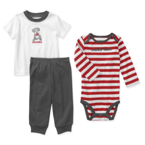 Carters Infant Boys Valentines Outfit Kissable Shirt Ladies Man Creeper & Pant