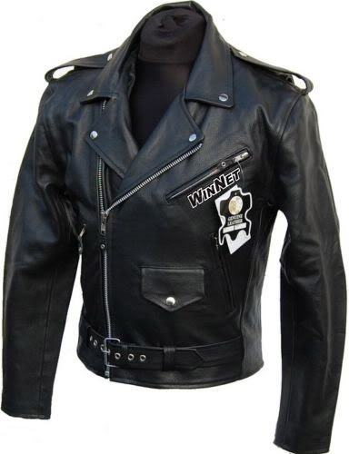 WinNet Giacca chiodo vintage da moto custom in pelle, Taglia: 4XL