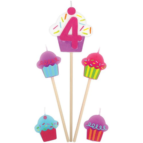 """4"" Birthday Cupcake Pick Candles - 1"