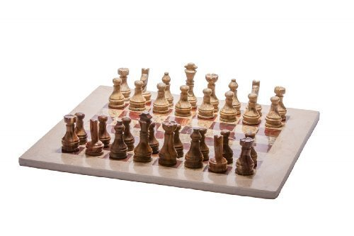 "16"" x 16"" Fossil Marble Chess Set with Velvet Storage Case 32 pieces"