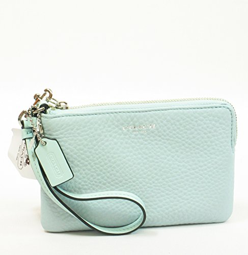 New Authentic Coach Bleeker Leather Wristlet (Sea Mist/Silver) front-1042609