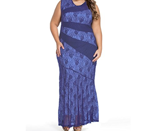 DH-MS Dress Women's Stylish Lace Splice Plus Size Mermaid Prom Dress Blue (Lil Mermaid Shoes compare prices)