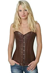 Steel boned Corset Real Genuine Leather Fullbust long Brown from fapedo