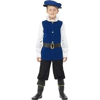 Childrens Fancy Dress Tudor Medieval Boy Costume Boys Complete Outfit Royal Blue