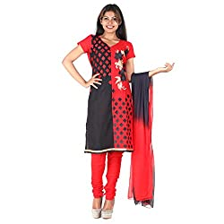 RangoliSF Woman's Cotton Unstitched Dress Material (RSFG1405 Red)