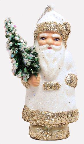 Ino Schaller White Gold Glitter Trim Santa German Paper Mache Christmas Ornament