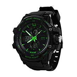 SKMEI Sports Series Dual Time with Calender Digital with Analog wrist watch - Green Dial - Mens Watch - 0990 GRN