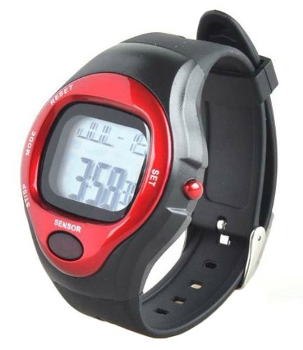 PIKE & Co. PULSE HEART RATE MONITOR CALORIE COUNTER SPORTS WATCH ALARM FITNESS RUNNING (RED & BLACK)