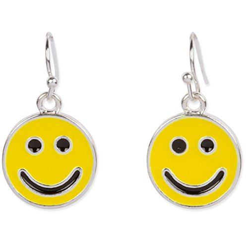 Happy Yellow Black Smiley Face Silver Tone Iconic Dangle Earrings