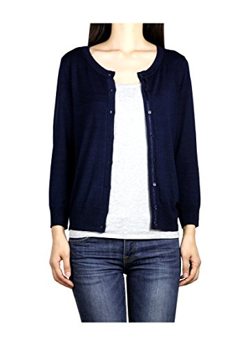 Lightweight, Soft and Comfortable Premium Women's 3/4 Sleeves Designer Cardigan (Small, Navy)