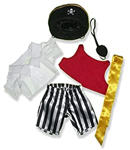 """Pirate Outfit Teddy Bear Clothes Fit 14"""" - 18"""" Build-a-bear, Vermont Teddy Bears, and Make Your Own Stuffed Animals"""