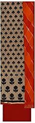 Krati Collection Women's Cotton Unstitched Dress Material (Cream & Black)