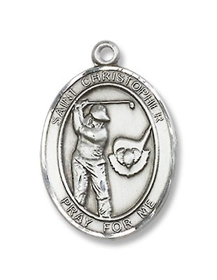 St. Christopher Sport Golf Sterling Silver Medal with 18