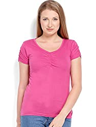 ESPRESSO V NECK TOP - PINK
