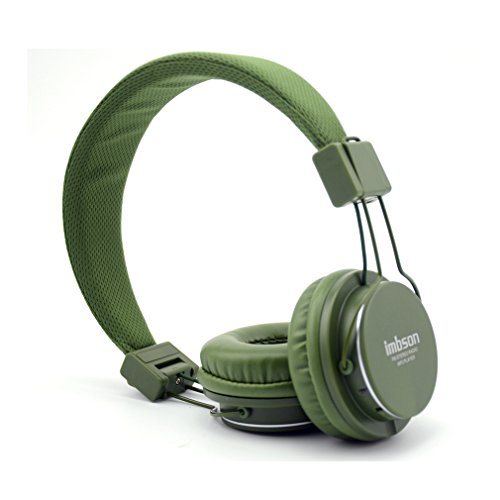Granvela Imbson A802 Foldable Headphone Headset New Fashion Brand Music Player Wireless Handsfree Headset Headphones Earphone,Support Tf Card Fm Radio Monitor Portable Audio Pc --Blackish Green