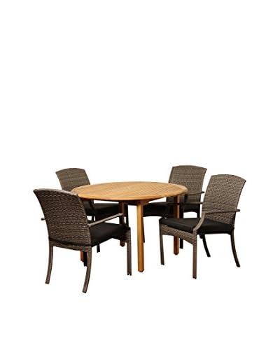 Amazonia Teak Alton 5-Piece Wicker Round Dining Set with Cushions, Brown/Grey