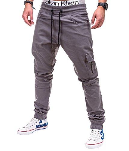 Betterstylz MasonBZ Cargo Chino Zip Jogger Pantaloni Uomo Style Jogger Pant diff. colori (S-XXL) (Small, Grigio)