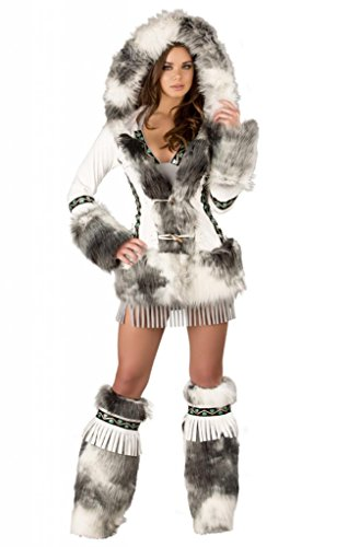 Sexy White Ice Eskimo Faux Fur Coat Halloween Accessory