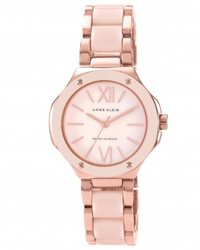 anne-klein-womens-quartz-watch-with-mother-of-pearl-dial-analogue-display-and-pink-plastic-bracelet-