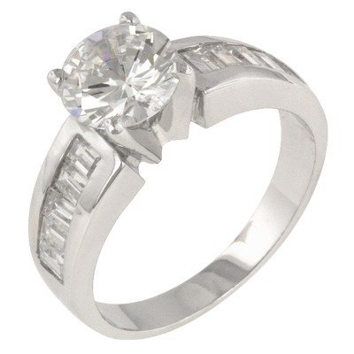 Clear Cubic Zirconia Accents Antoinette Engagement Ring Size: 7