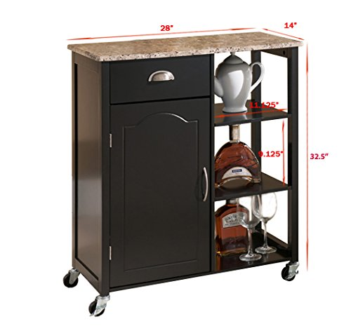 Khome Black Wood Kitchen Storage Cabinet Cart Island