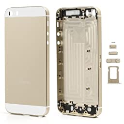 Fogeek High Quality Full Housing Faceplates w/ Buttons SIM Card Tray for iPhone 5S - White / Champagne Gold