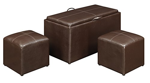 Convenience Concepts 143012 Sheridan Faux Leather Storage Bench with 2 Side Ottomans, Dark Espresso (Dark Espresso Ottoman compare prices)