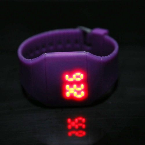 Tenflyer Men Women Led Touch Screen Digital Wrist Sport Watch (Purple)