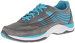 Dansko Women\'s Shayla Fashion Sneaker, Grey/Aqua Suede, 38 EU/7.5-8 M US