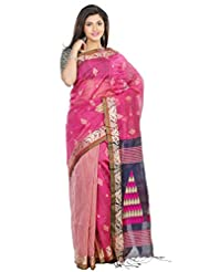 B3Fashion Elegant Bengal Handloom Onion Pink Colored Soft & Comfortable Cotton Silk Partywear Saree